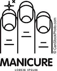 logotipo, salão, vetorial, linha, manicure