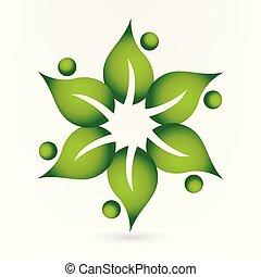 logotipo, salute, mette foglie, natura