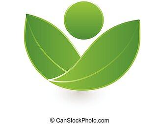 logotipo, salute, verde, mette foglie, natura