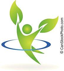 logotipo, sano, naturaleza, hombre, en, un, feliz, estilo de vida