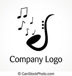 logotipo, saxofone