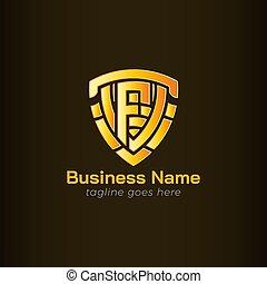 logotipo, scudo, f, lettera