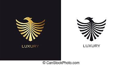 logotipo, scudo, phoenix, stilizzato, uccello, dorato, oro, volare
