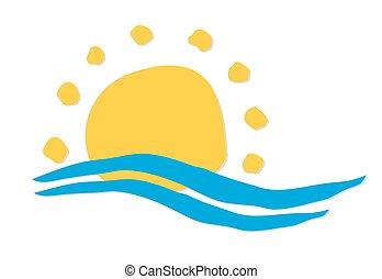 logotipo, sea., sol