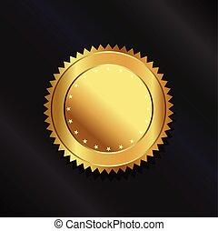 logotipo, selo ouro
