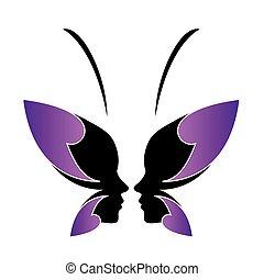 logotipo, senhora, butterfly-, rosto
