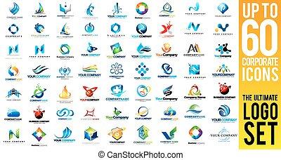 logotipo, set, affari corporativi