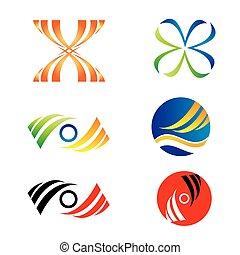 logotipo, set, affari, sagoma, icone