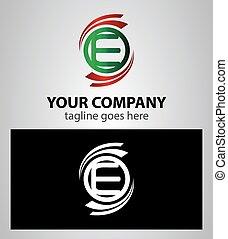 logotipo, set, e, lettera, icona