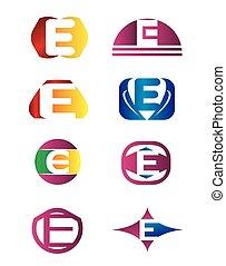 logotipo, set, e, lettera