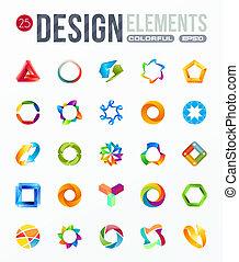 logotipo, set., elementos, desenho, ícone