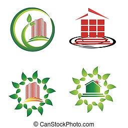 logotipo, set, grattacieli, sagoma