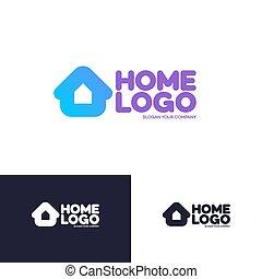 logotipo, set, isolato, fondo, casa