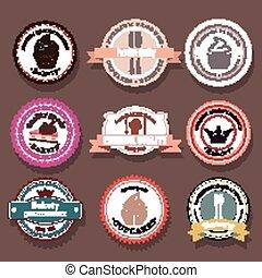 logotipo, set, vettore, panetteria, etichette