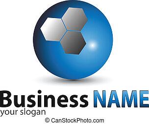 logotipo, sfera, blu, lucido