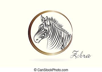 logotipo, silhouette, zebra, icona
