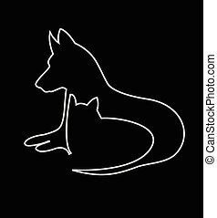 logotipo, silhuetas, cão, gato
