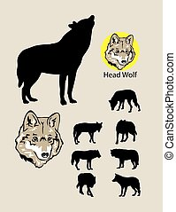 logotipo, silhuetas, lobo