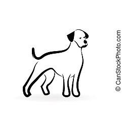 logotipo, silueta, cão