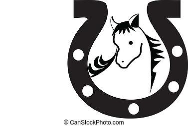 logotipo, silueta, herradura