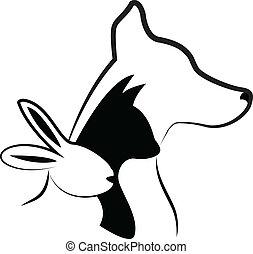 logotipo, siluetas, perro, conejo, gato