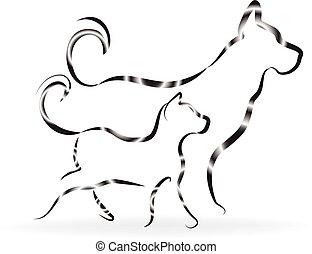 logotipo, siluetas, perro, gato