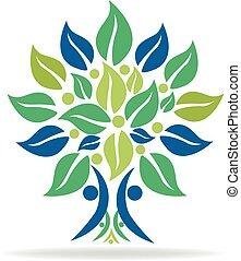 logotipo, simbolo, albero, famiglia