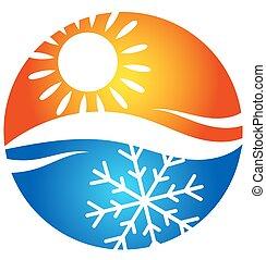logotipo, simbolo, condizionamento, aria