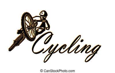 logotipo, sobre, ciclismo, branca, isolado