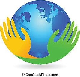 logotipo, sobre, mãos, negócio, mundo
