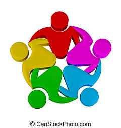 logotipo, social, trabalho equipe, mídia
