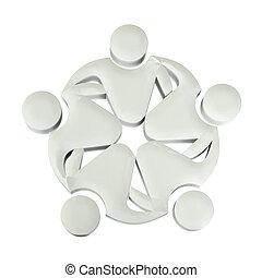 logotipo, sociale, lavoro squadra, 3d, media