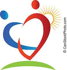 logotipo, sol, corazones, figuras, rayo