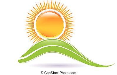 logotipo, sol, e, folha