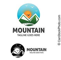 logotipo, sol, montanha