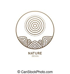 logotipo, sol, montanhas