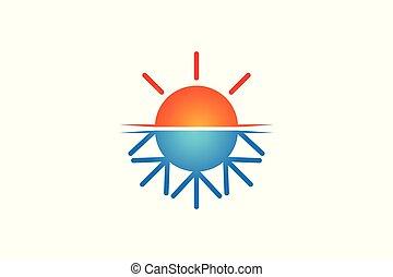 logotipo, sol, praia, desenho, inspiração