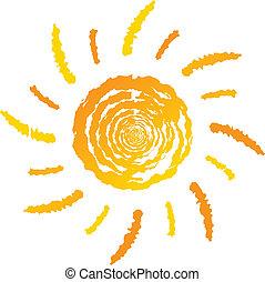 logotipo, sol, verano