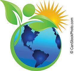 logotipo, sol, vida, natural, terra