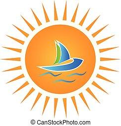 logotipo, sol, y, barco