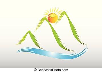 logotipo, sol, y, montañas verdes, icono, vector, diseño