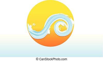 logotipo, sol, y, ondas, acuarela, vector