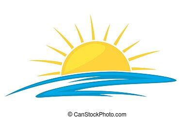 Sol, fishes., mar, logotipo. Sol, amanecer, fishes., mar ...