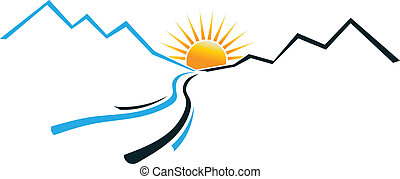 logotipo, sole, fiume, montagna