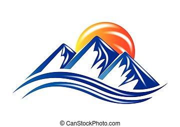 logotipo, sole, montagne, vettore, baluginante