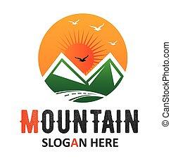 logotipo, sole, sagoma, montagna