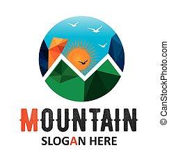 logotipo, sole, vettore, sagoma, montagna