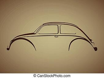 logotipo, sopra, auto, marrone, dolce