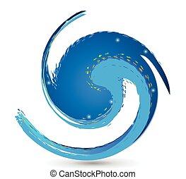logotipo, spiaggia, onda
