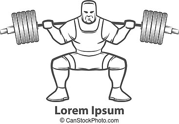 logotipo, squat, powerlifting